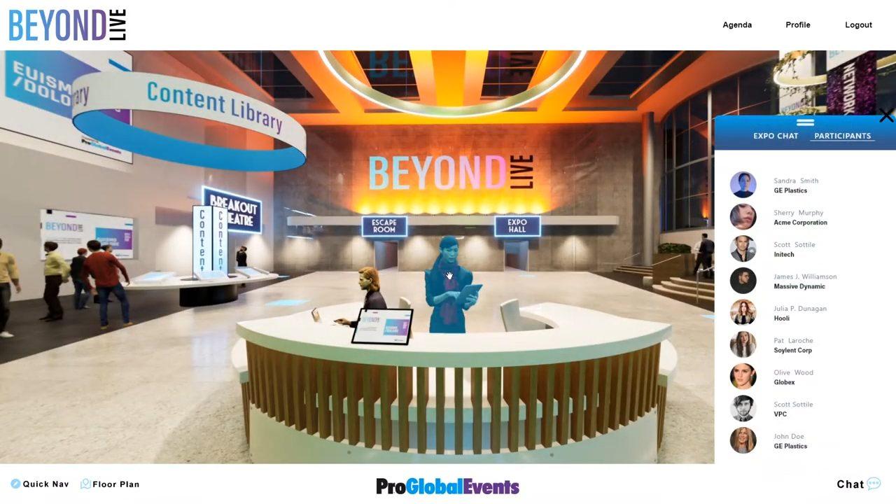 proglobalevents beyondlive virtual events demo lobby