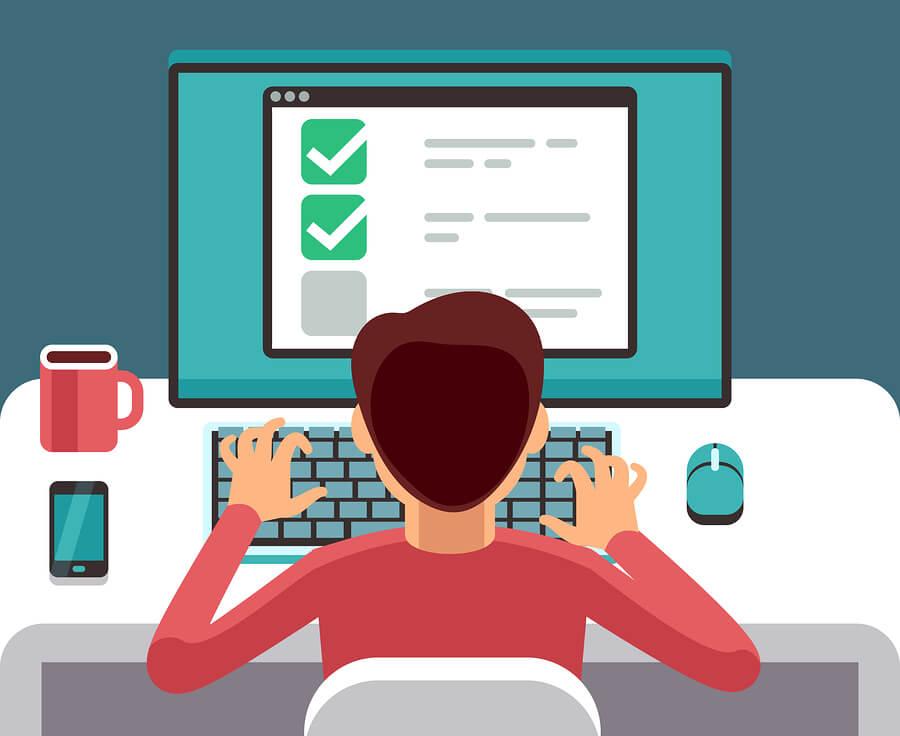 illustration of man taking survey at computer